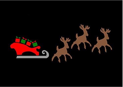 Weihnachten, Rentier und Schlitten, Airbrush, Wand-Kunst, aus Mylar, Schablone, wiederverwendbar 125Mikron A4