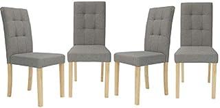 IDMarket - Lot de 4 chaises Polga capitonnées Grises pour Salle à Manger