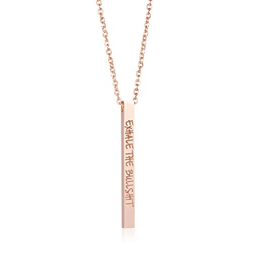 Joycuff Exhale The Bullshit Stainless Steel Necklace Graduation Pendant Inspirational Jewelry for Women