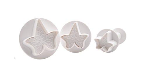 DeColorDulce Lot de 3 emporte-pièces en Forme de Feuille de Lierre avec éjecteur Blanc 28 x 10 x 5 cm