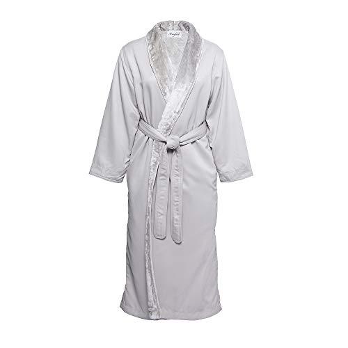 Mansfield, Unisex Spa Microfiber Shimmer Lined Shawl Collar Luxury Robe, Grey, 2X