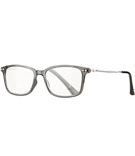Caripe Herren Damen Retro Nerd Vintage Design Lesebrille Lesehilfe eckig Fertiglesebrille Metall Bügel - M4084 (+ 3,0 dpt, grau transparent)