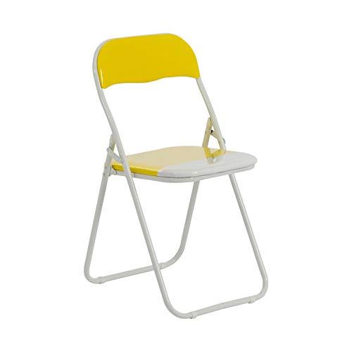 Harbour Housewares Silla de Escritorio Plegable - con Acolchado Amarillo/Blanco