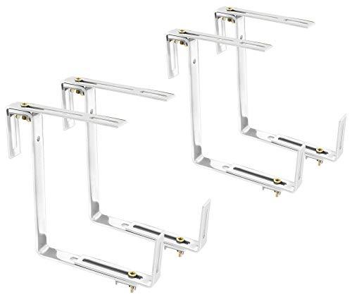 com-four® 4X Blumenkastenhalter für Brüstungen und Balkon-Geländer - Blumenkasten Halterung universal passend und verstellbar - kein Bohren notwendig (4 Stück - weiß)