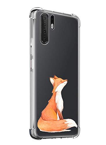 Oihxse ersatz für Huawei P30 Lite Hülle,Weich TPU Silikon Transparent Schutzhülle mit Kratzfeste Hülle Flexibler TPU Bumper-Rahmen,Elegante Schmale Hülle für Huawei Nova 4e-Vier Eckenschutz (Fuchs)