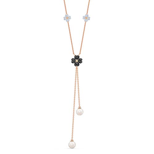 Swarovski Latisha Long Y Necklace, with Black and White Crystals on a Rose-Gold Tone Plated Chain, a Part of the Latisha Collection