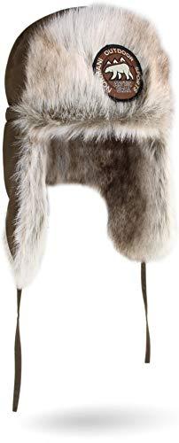 normani Unisex Wintermütze Winterkappe Arctic Ursa aus Synthetik-Pelz mit Ohren- und Nackenwärmer Farbe Oliv Größe M/57