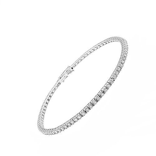 Maga Diamonds International - Bracciale Tennis elegante da Donna in Oro Bianco 18 Kt - Tit. 750/1000 con Diamanti taglio Brillante Ct. 1.00 - Montatura morbida a Griffe