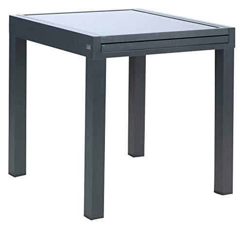 Möbel Jack Ausziehtisch Gartentisch Terrassentisch | 72x72 cm | Aluminium | Glas | Anthrazit | Ausziehbar