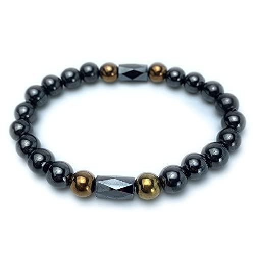 RICHRAIN Herren Armband Schwarz Gold Perlen Elastisches Seil Hämatit Magnetfeldtherapie Herren Fitness Armband Armband, Kreis 20-21CM