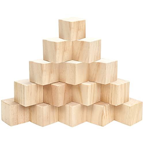 BELLE VOUS Cube en Bois (Lot de 15) - Petits Cubes en Bois Brut 5 x 5 x 5 cm - Cubes Bois de Pin Naturel - Cube Bois Bricolage, Loisirs Créatifs, Alphabet, Tampons, Lettres, Puzzle, Nombre