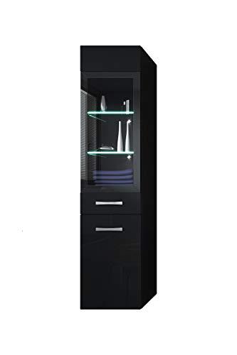 Badezimmer Schrank Rio 131 cm Hochglanz Schwarz Fronten – Regal Schrank Hochschrank Schrank Möbel