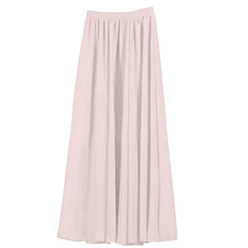 Nlife Frauen-Doppelte Schicht Chiffon- gefalteter Retro- langer Maxi Rock-elastischer Taillen-Rock, 90cm, Farbe: Light Grey