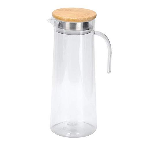 Jarra de jugo de 1.2L, jarra de jugo de jarra de agua acrílica Jarra de jugo para bebidas frías o calientes, agua, vino, café, té helado y jugo de frutas(Bamboo Lid)