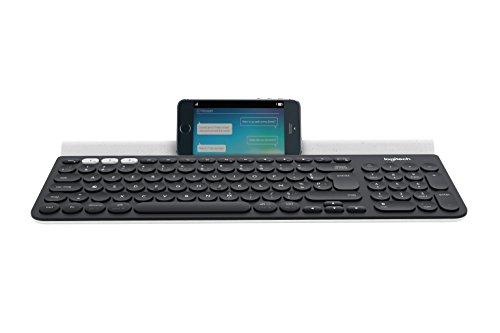 Logitech K780 Universel Clavier Multidispositif Sans Fil Bluetooth pour Windows, Mac, Chrome OS, iOS, Android - Gris Foncé/Blanc - AZERTY Belge Disposition