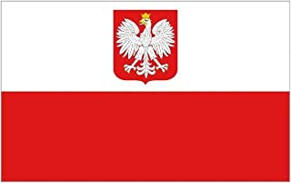 SoCal Flags Poland Flag from 3x5 Foot Polyester Polish Coat of Arms - Sold by A Proud American Company - Durable 100d Material Not See Thru Like Other Brands Weather Resistant