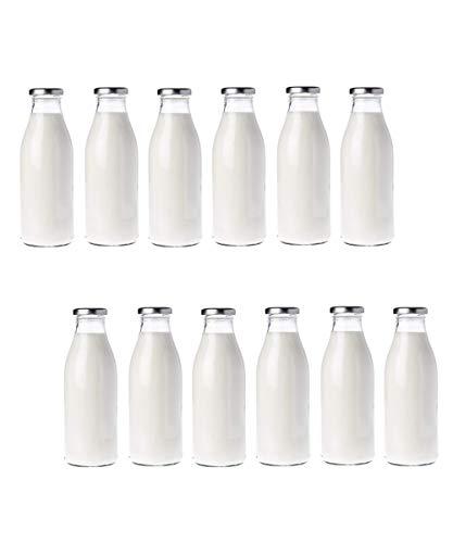 Generico 12 botellas de leche de 1 litro con tapón de color plateado.
