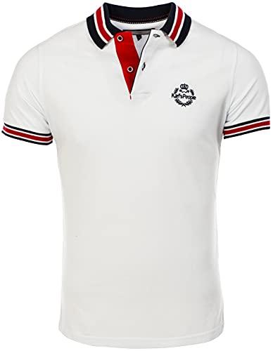 Karl´s People Kurzarm Poloshirt für Herren XXL, Weiß 100% Baumwolle by Carisma • Herren Polo Shirt mit Stickerei • Angenehmes Regular Fit Shirt für Büro und Freizeit