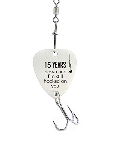 15th Wedding for Men 15 Year Anniversary Fishing Hook Gifts for Husband...