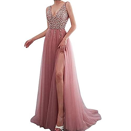 TMOYJPX Vestidos de Fiesta Largos de Noche Gasa Lentejuelas, Vestido Mujer Elegantes Comunion Ropa de Mujer (Rosa, S, s)