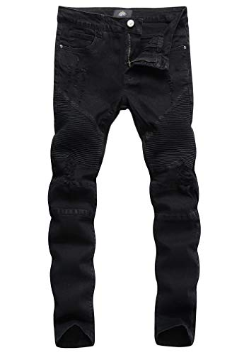 ZLZ Slim Fit Biker Jeans, Men's Super Comfy Stretch Skinny Biker Denim Jeans Pants