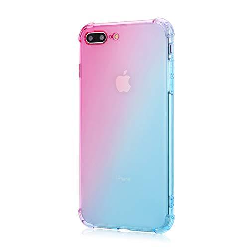 Oihxse Cristal Coque Compatible pour Samsung Galaxy J4 2018/J3 2018 Case Dégradé Transparente Coussin d'Air Silicone Souple Protection Housse Ultra Mince Antichoc Protection Etui Bumper (Rose Vert)
