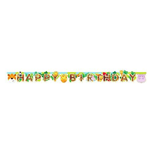 amscan - Guirnalda de cumpleaños modelo Jungle Friends (2m/Multicolor)