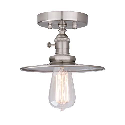 Phansthy Ceiling Light Fitting E27 Vintage Metal Black Hanging Flush Mount Lamp Industrial Edison Ceiling Light Fixtures for Kitchen Bedroom Hallway Loft (Brushed)