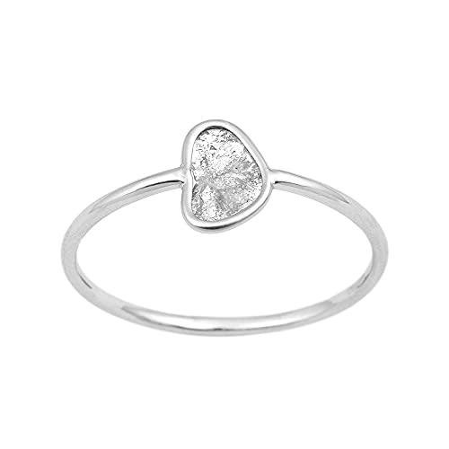 Anillo Polki de diamantes naturales genuinos, anillo delgado, anillo minimalista, regalo, anillo de piedras preciosas, anillo de diamantes diminutos (22.5)