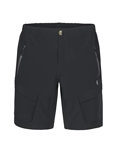 Little Donkey Andy Men's Stretch Quick Dry Cargo Shorts for Hiking, Camping, Travel Black Size L