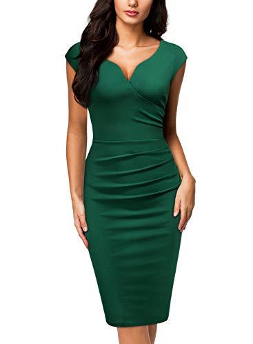 Miusol Women's V-Neck Sleeveless Vintage Slim Style Business Pencil Dress (Large, Dark Green)