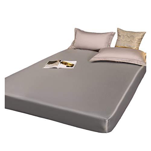 HOMFLOW Impermeabile Protezioni Materasso Tessuto di Seta Lavato Copri Materassi Traspirante Smooth Pelle-Friendly (30 Cm di profondità) (Color : Gray, Size : 120x200+30cm)