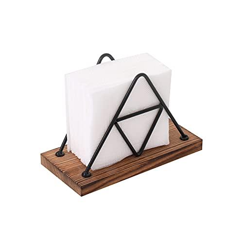 SIGNET SOLUTIONS Wooden Napkin Holder for Kitchen Table, Ideal Dinner Napkin Holder for Dinner Napkins, Paper Napkins - Burnt Wood Texture