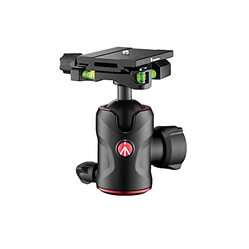 Manfrotto Compact Testa a Sfera 496 con Piastra a Sgancio Rapido MSQ6PL, Testa a Sfera Fluida per Treppiede, Stabilizzatore Camera, Telecomando, Attrezzatura Fotografica