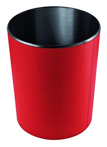 Handmade in Germany excl. Papierkorb-Leder-rot, Leder-Papierkorb aus feingenarbtem Rindnappaleder - erhältlich in 5 Farben excl. Marke EuroStyle