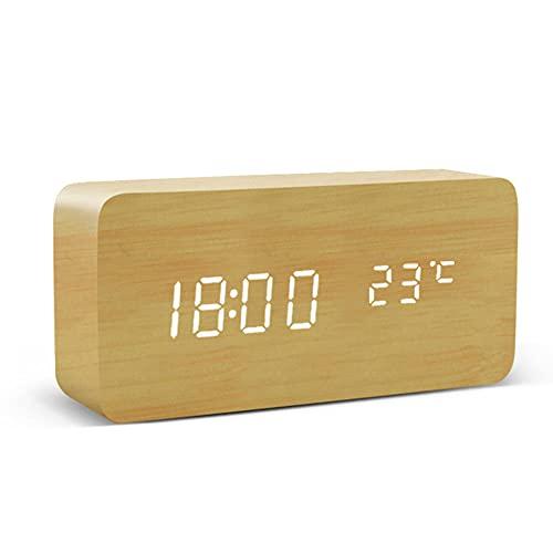 Despertador LED Madera,Mesa de Reloj Control de Voz Relojes de Escritorio Electrónicos con Alimentación USB/AAA Digitales