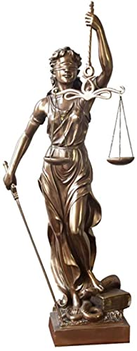 HUANYARI Justice with Scales and Sword Sculpture Gift Collection Lawyer Cold Cast Bronze Bronze 12x47cm-Bronze_8x31cm Evolutions
