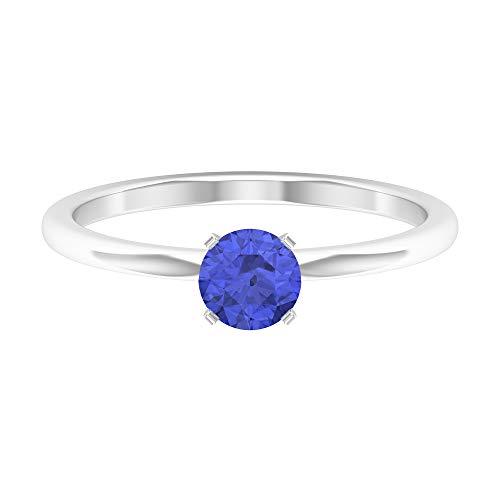Anillo solitario de tanzanita de 5 mm, anillo de compromiso simple, anillo de boda de oro macizo, 14K Oro blanco, Size:EU 64