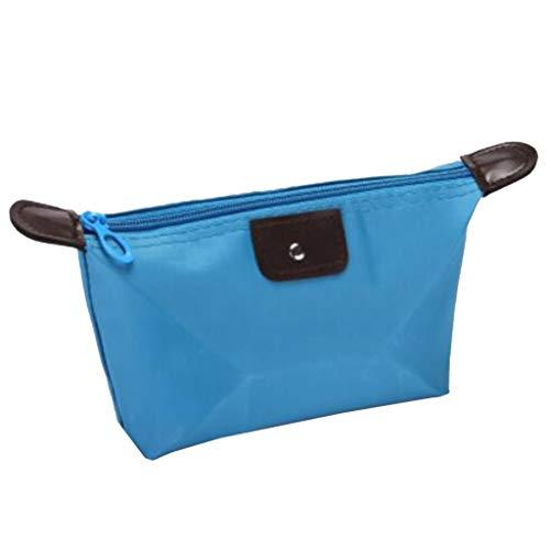 LOVIVER Nylon Cosmetic Bag Pencil Case Étui De Toilette étanche Sac Porte-Monnaie - Bleu Clair