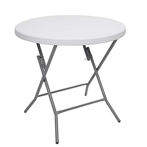 32inch Round Folding Table Outdoor Folding Utility Table White Modern Outdoor Patio Furniture Porch Furnitures for Home, Outdoors