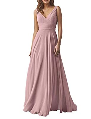 Yilis Women's Chiffon A Line Double V Neck Long Bridesmaid Dress Formal Evening Prom Gown Dustypink US4