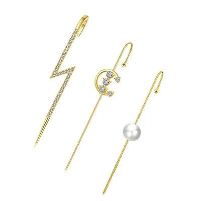 Honsny 3 Pieces Ear Cuffs Crawler Hook Earrings for Women Gold Simple Pearl Cubic Zirconia Rhinestone Hoop Earrings Sparkling Cubic Zirconia Ear Cuffs
