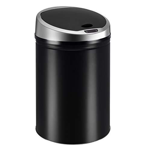 Ribelli Edelstahl Mülleimer - Abfalleimer mit Sensor - automatisches Öffnen und Schließen - Klemmring für Müllbeutel - Abnehmbarer Deckel - mit LED-Funktionsanzeige (schwarz, 40 Liter)