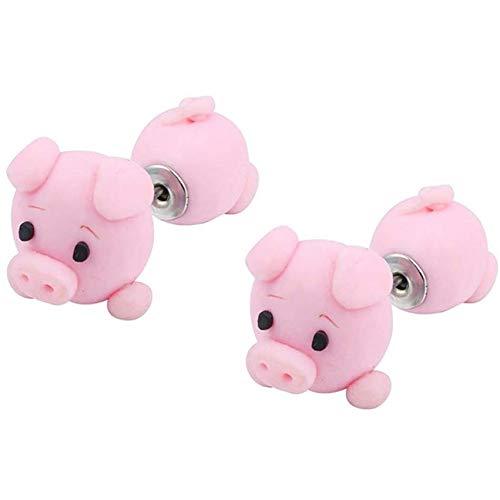 LPOQW Pendientes lindos cerdo rosa suave arcilla pendientes colgantes gancho oreja gota adornos moda pendientes joyería chica regalo
