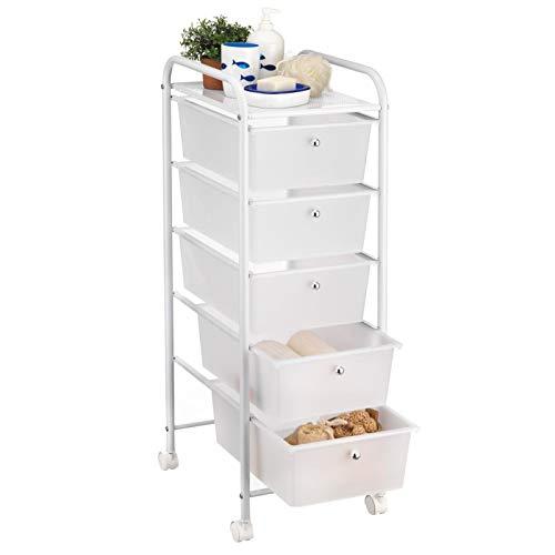 IDIMEX Badregal Rollwagen Rollcontainer GINA, mit 5 transparenten Schubladen und Metallgestell in weiß