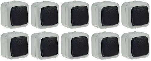 Wechsel Schalter Feuchtraum IP44 Aufputz 250V 10A Schaltelement in geschütztem Gehäuse mit Wippe Grau (10 Stück)