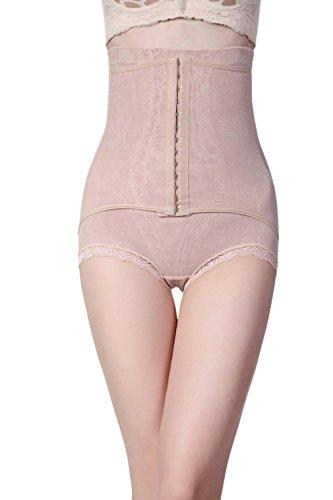 COMVIP Culotte Ventre Plat Slip Serré Taille Haute Body Gainante Sculptante Push Up Minceur Abricot 80-86cm
