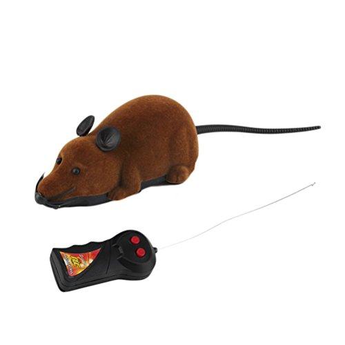 LUOEM Controller Remoto Spaventoso Prank Toy Simulazione Mouse Peluche Topi Bambini Giocattoli Regalo per Gatto Cane Marrone