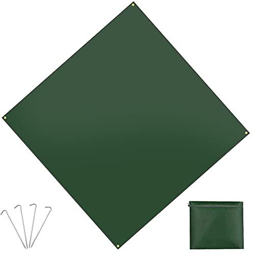 テントシート グランドシート 軽量 防水 コンパクト キャンプ 花見 登山 ピクニック マット 折り畳み 200*200cm 合金アルミペグ付き 収納袋 (グリーン)