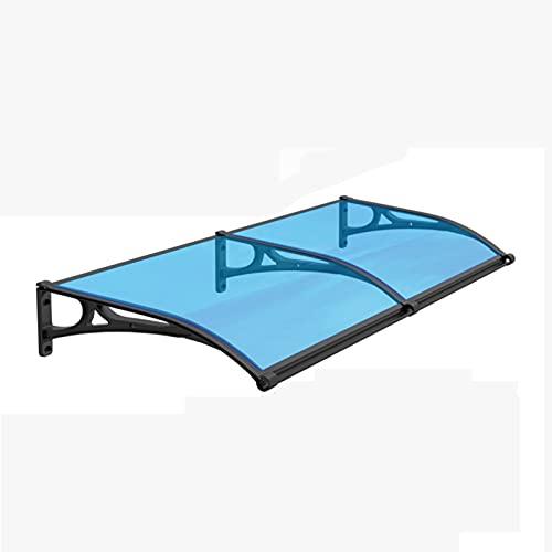 YYLL Marquesina Puerta Exterior Tolding Toopies Hojas Azules con Soportes Negros Porche Tapa de Techo Tapa de Nieve Toldo de Nieve Sombra de protección, Profundidad 60/80 / 100/120 / cm
